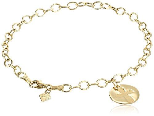 14k Yellow Gold Organic Cross Charm Bracelet