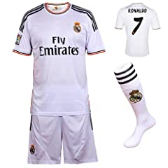 2013 2014 FC Real Madrid Home Ronaldo #7 Football Soccer Kids Jersey with FREE Shorts...