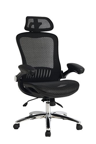 VIVA OFFICE High Back Mesh Executive Chair with Adjustable Headrest and Padded Flip-Up Arms High Performance Arms