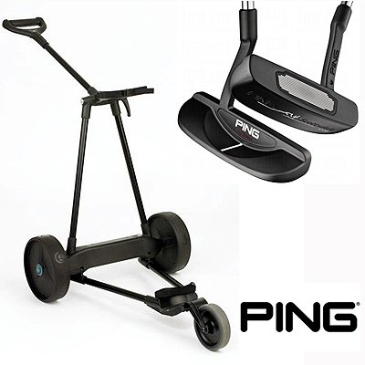 New! Emotion E3 23Lbs Pull Push Electric Motorized 3-Wheel Golf Cart Trolley + New! Ping Scottsdale Tr Tatum Putter