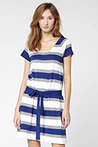 Short Sleeve Lightweight Cotton Bold Stripe A-Line Sweater Dress