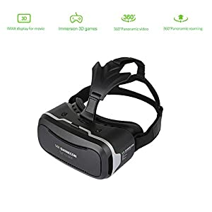 3D VR Glasses Headset Simpper 3D Virtual Reality Box + Smart Bluetooth Remote Control Gamepad With Adjustable Lens Comfortable Leather Patch Support 4.5-6.0 Inch iPhone & Android Smartphones from Simmper