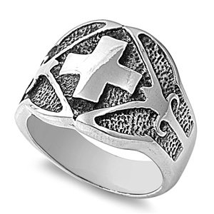 16MM MEN'S BIKER GOTHIC CATHOLIC CROSS STAINLESS STEEL SILVER RING SIZE 8-14 (14)
