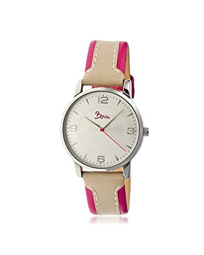 Boum Women's BM2201 Contraire Hot Pink/Silver Leather Watch