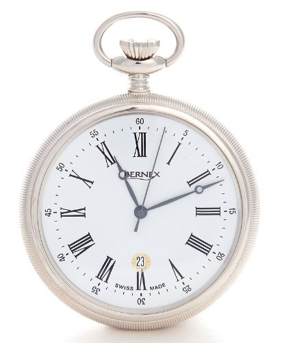 Bernex Swiss Made Rhodium Plated Pocket Watch Slim Open Face Case