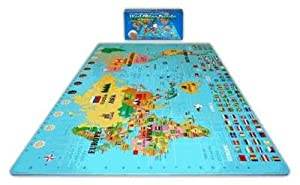 Play & Learn Soft & Safe 6'x 6' x 4' World Map Foam Puzzle Floor Set from Alessco