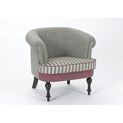 Silla romántico, color gris claro y rosa palo