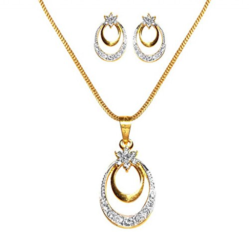 Dg Jewels White American Diamondâ 24K Gold Plated Pendant Necklace With Earrings For Women
