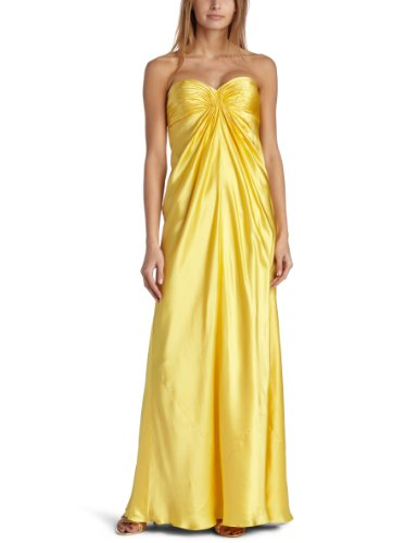 Laundry by Shelli Segal Women's Silk Charmeuse Solid Pleat Front Gown