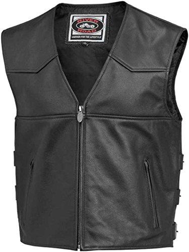 River Road Plains Leather Vest , Gender: Mens/Unisex, Primary Color: Black, Size: 48, Apparel Material: Leather, Distinct Name: Black 12/V/3654