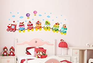 Design Colorful Train of Ice Cream Under Sky with Could Stars and Hydrogen Balloon for Nursery Room Wall Decor Decals by New Design