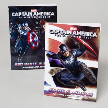 Captain America 96 Page Coloring Book Set of 2 From The Winter Soldier Movie Includes: Stars & Stripes & Red White & Blue # 6611