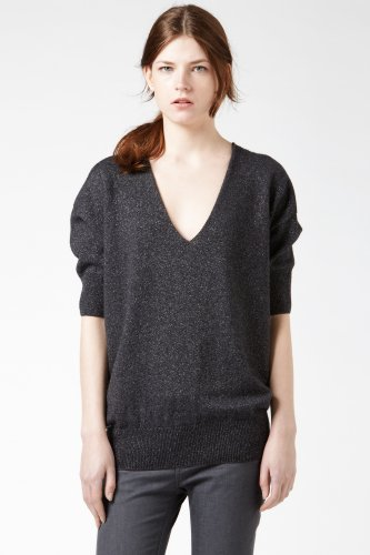 Short Sleeve Lurex V-neck Sweater