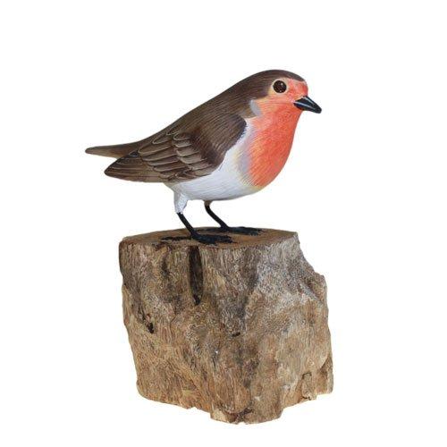 Wooden Hand Carved Great British Birds Indoor/Outdoor Garden Ornament (Design: Robin)
