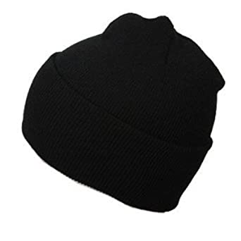 New Black Solid Winter Long Beanie, Black