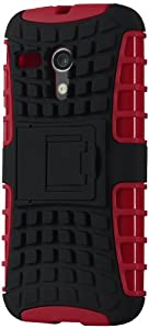 SWISS+CASE Protective Case for Moto G - Retail Packaging - Black/Red