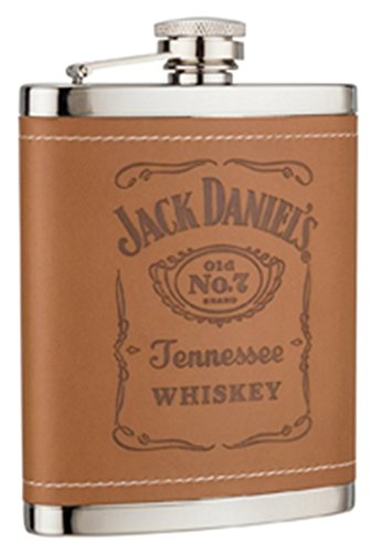 Jack Daniel's Brown Leatherette Cover 6 Oz Stainless Steel Flask (Jack Daniels Barrel Flask compare prices)
