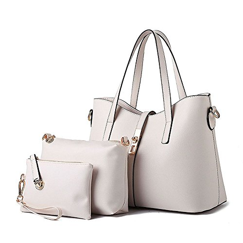 koson-man-womens-3-in-1-pu-leather-sling-vintage-zipper-tote-bags-top-handle-handbagwhite