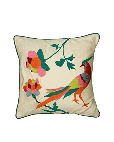 Rizzy Home Orange Seychelles Embroidered Throw Pillow