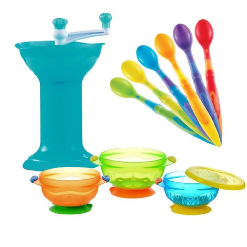 Munchkin Baby Food Grinder With 3 Count Suction Bowls And 6-Pack Soft Tip Infant Spoons front-492702