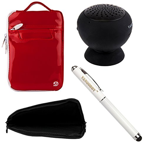 Hydei Protective Travel Bag Carrying Case For Samsung Galaxy Tab 4 7.0 Inch Tablet + Laser Stylus Pen + Black Suction Stand Bluetooth Speaker (Red)