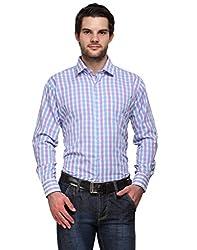 Ausy Purple and Blue Cotton Blend Mens's Shirt