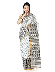 B3Fashion Elegant Offwhite Handloom Dhakai Jamdani Cotton Saree With Motif Weaves In Black All Over The Saree