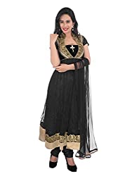 Diva Fusion Womens Velvet & Net Anarkali Semi-Stitched Dress Material (Dfa159 _Black)