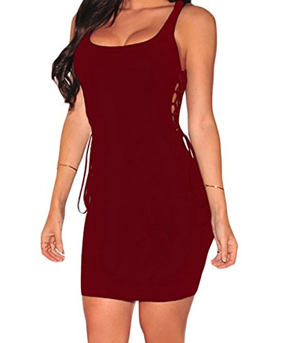 FQHOME Womens Wine Ribbed Open Lace up Sides Dress Size L