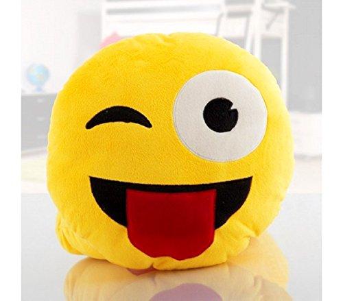 621037 Cuscino emoticon occhiolino con lingua emoji pillow faccine diam. 30 cm. MEDIA WAVE store