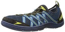 Speedo Men\'s Seaside Lace 4.0 Water Shoe, Black/Blue, 11 M US