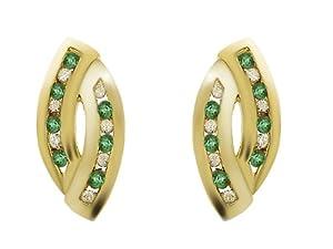 Yellow 9ct Gold Round Cut Emerald (0.12ct) & Diamond Stud Earrings