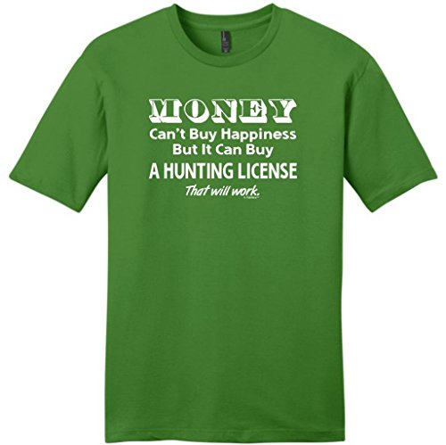 Money Can't Buy Happiness, Can Buy Hunting License Young Mens T-Shirt Large Kiwi Green