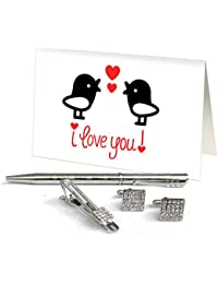 TiedRibbons® Gifts For Boyfriend Silver Cufflinks,Tiepin And Pen Combo Set With Valentine's Special Greeting Card