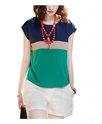 VOBAGA® Women's Loose Casual Stripe Color Collision T-Shirt Tops Blouse Green S