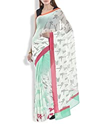 Pandora Design Pastel Green Digitally Printed Georgette Saree