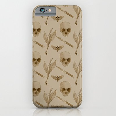 Society6 - Skull-Moth-Lily-Switchblade Iphone 6 Case By Because, Skulls