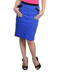 VeaKupia Women's Slim Regular Fit Skirt (7006, Royal Blue, 28)