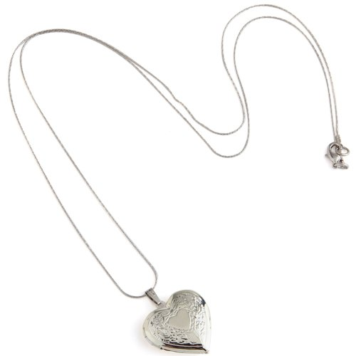 Heart Silver Plated Charm Pendant Necklace Locket 1.1