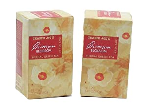 Trader Joe's Crimson Blossom Herbal Green Tea - Pack of 2 Boxes