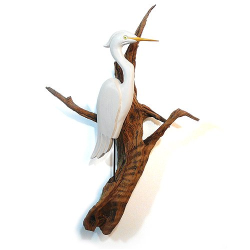 Carved Wood Heron on Driftwood Wall Sculpture