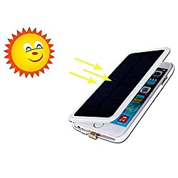 iphone 6s plus Solar Battery Case,Rasse® 4200mAh Portable Solar Power Bank Backup External Battery Charger Case For iPhone 6 Plus /iphone 6s plus 5.5 inch(6 Plus Solar White)