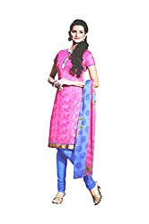 LT Women's Silk Cotton Pink Semi-Stitched Salwar Suit Dress Material With Dupatta