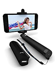 Selfie Stick / Power Bank / Remote Camera Shutter Combo - 3-In-1 Advanced Bluetooth (Made With USA Technology) Monopod For All iPhones (iOS 5.0+), Samsung Galaxy, Note, Android Phones (4.3+)