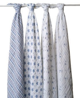aden + anais Classic Muslin Swaddle Blanket 4 Pack, Blue and White (Discontinued by Manufacturer) (Discontinued by Manufacturer)