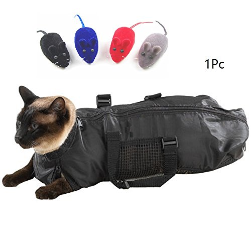 L&LH Cat Grooming Bag, Cat Restraint Bag, Cat Grooming Accessory with a Sound small mouse. (L)