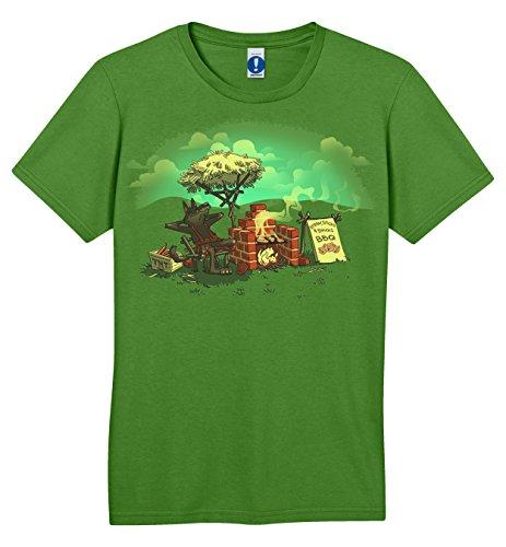 Shirt.Woot - Men'S Straw, Sticks, & Bricks BBQ T-Shirt - Grass Green - Xl