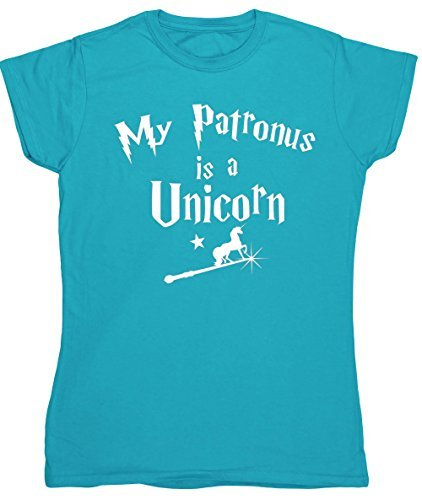 HippoWarehouse My Patronus è un Unicorn vestibilità da donna t-shirt manica corta - cotone, Blu Zaffiro, 100% cotone 20% poliestere 100% cotone 80% cotone, Donna, Medium