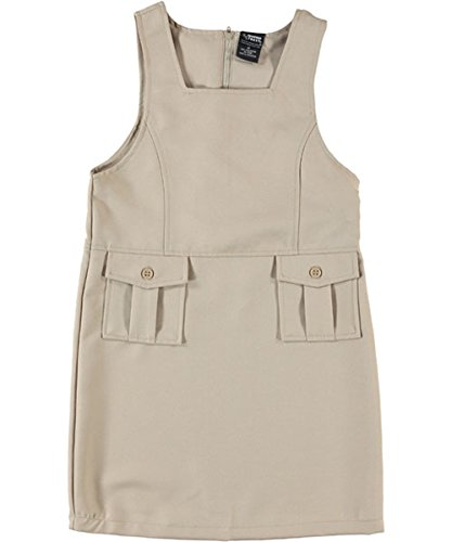 "French Toast Big Girls' ""Bellows Pocket"" Jumper - khaki, 20"