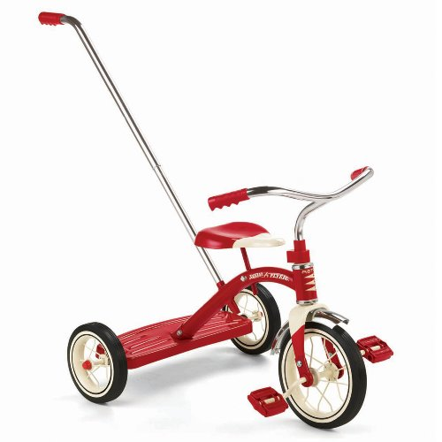 "Great Features Of Radio Flyer Classic Red 10"" Tricycle with Push Handle"